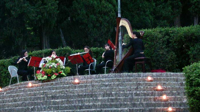 The Italian wedding harpist with her String Ensemble