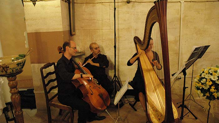 Italian wedding harpist Trio Harp, Flute and Cello